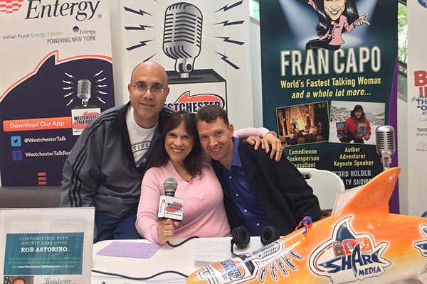 Our Fran's World Team: Matthew Kayan (Mix Master & Station Engineer), Fran Capo (host), Jim Kleefield (Announcer, Talk Show Host/Social Media)