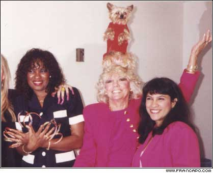 Backstage on the Sally Jessie Show with fellow record holders, the woman with the dog that does the most tricks, and the chick with the longest nails.